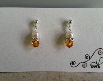 Swarovski Crystal and Pearls Drop Earrings