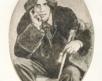 "Original etching ""Oscar Wilde"""