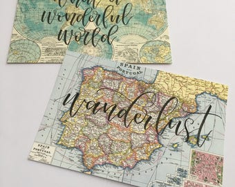 Two Hand lettered vintage map postcards - set of 2