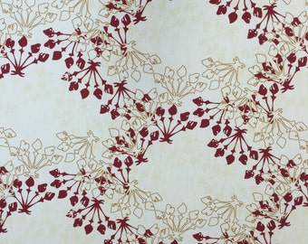 fabric cotton white with red and gold decorative designs, modern style, Christmas cotton