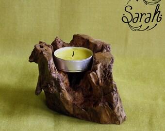 """Nature"" wooden candlestick"