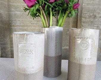 Ceramic Vase, Flower Vase, Pottery Vase, gray ceramic vase, white vase, Ceramic Flower Pot, Modern Vase Flower, easter Gift, Gift for her
