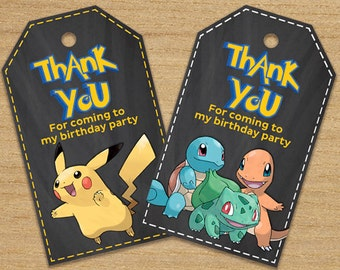 Pokemon Thank You Tags, Birthday Party Pokemon Tags, Pokemon Party Tags, Pikachu Tags, Pokemon Labels Tags, Pokemon Favor