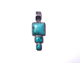 Silver Pendant and 3 turquoise stones