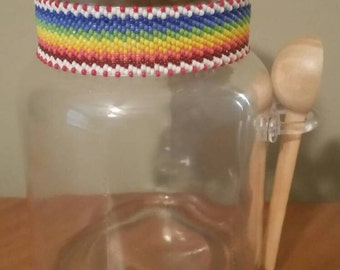 Authentic Native American Beaded Glass Jar