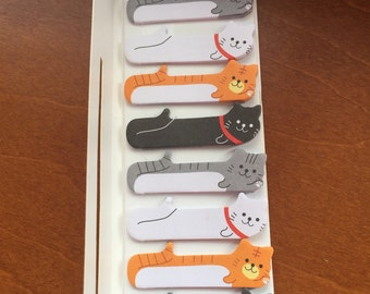 Kawaii cute Cat sticky tabs Stationary Storage Organizer Bag School Office Supply Planner Stationery