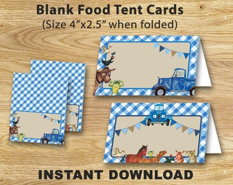 Little Blue Truck Food Tent Labels // Blank Food Tent Cards
