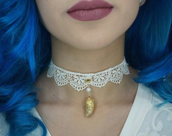 Pearl Golden Dragon's Tooth - Choker Necklace