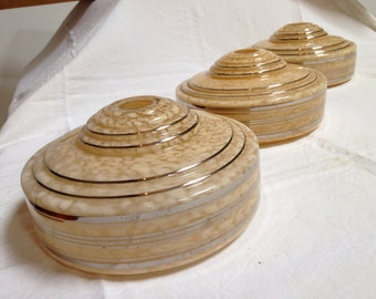 A set of 3 , or buy individually ,French, ART DECO glass shades, vintage lighting