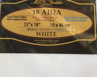 White 18 Count Aida Cloth for Cross Stitching