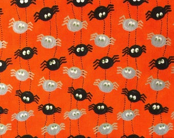 Black and Grey Dangling Spiders Printed on Quilters Fabric