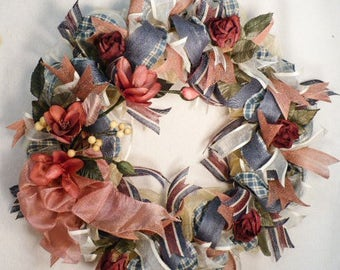 Free shipping, Everyday wreath handmade, wire frame, variety ribbon, decorated with handmade florals