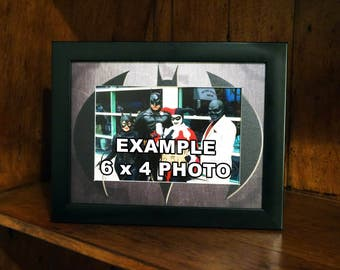 batman style picture frame black frame with a professionally printed 2 inch mount to fit a 6 x 4 inch photo