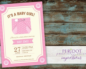 Printable 5x7 - Pink Diaper Baby Shower  Invitation