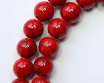 8mm Red Beads Red and Black Jade Rounds 15 inch Strand 46 Beads Stone Gemstone