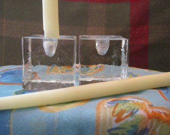 Dansk Ice Cube Taper Candle Holders