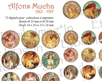 Board 72 digital * Alfons Mucha * to print for cabochons