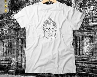 Buddha Face Tee / Tshirt for Men, Handmade and Unique