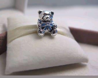 Pandora  It's a Boy Teddy blue Enamel Charm/New/Ale/s925/Solid Sterling Silver/Threaded Core