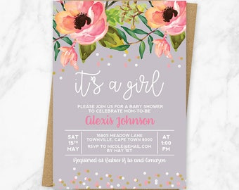 Girl Baby Shower Invitation, Baby Shower Invitation, Floral Baby Shower Invitation, It's A Girl Baby Shower Invitation, Printable Invitation