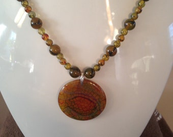 Genuine Dragon Vein Agate Necklace