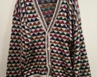END of WINTER SALE! Vintage triangle patterned grandma cardigan