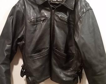 Leather biker jacket with side buckles. M/L