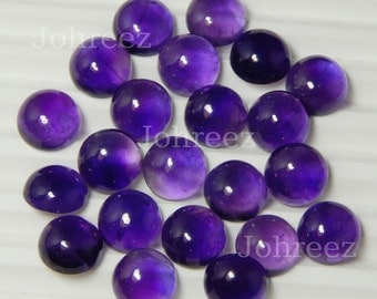 10 Pieces Wholesale Lot Natural Purple Amethyst Round Gemstone cabochon