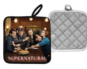 Supernatural  Sam Dean Winchester Castiel and Crowley Pot Holder