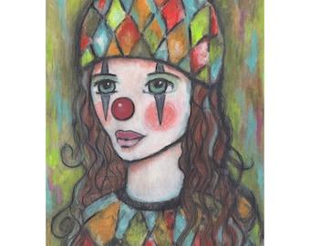 clown painting whimsical art print portrait art mixed media clown art circus art big eye art big eyes whimsical painting folk art painting