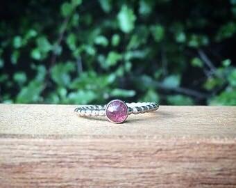 Pink Tourmaline Ring / Sterling Silver Ring / Tourmaline Stack Ring / Pink Crystal Ring / Stackable Ring / Twist Band / Pink Stone Ring