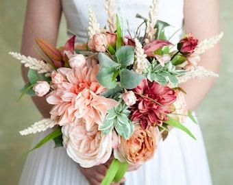 Blush Pink Peach Bouquet, Wedding Bouquet, Silk Bridal Bouquet, Roses, Wedding Flowers, Garden Bouquet, Bride Bouquet, Summer Flowers