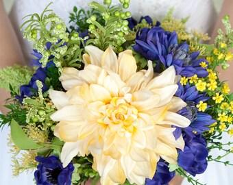 Blue and Yellow Wedding Bouquets, Blue Bouquet, Gold Bouquet, Wildflower Bouquet, Yellow Bouquet, Wedding Bouquet, Silk Bridal Bouquet