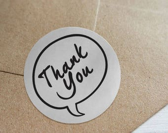 "Transparent or Silver Foil ""Thank You"" Ornate Labels Stickers Seals #R4004"