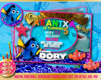 Finding dory  Digital  Printable invitation,finding dory  Custom Party ,Finding dory ,Birthday,findin dory Party, Supply, Kit, Pack, Custom