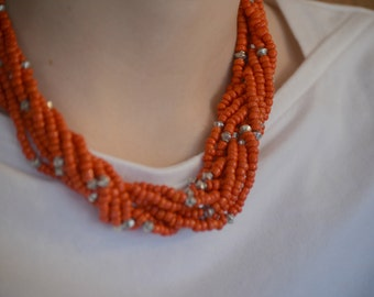 Orange Braided Necklace