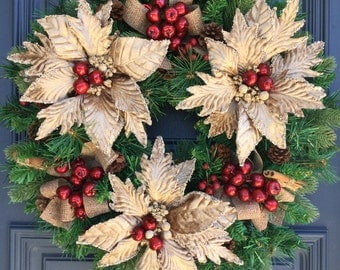 Christmas Wreath with Champagne Poinsettias