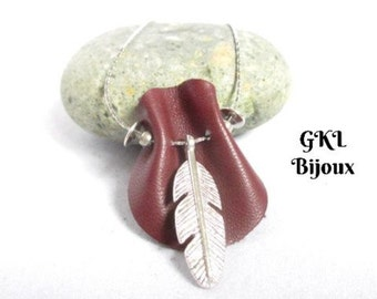 Leather GKLBijoux serpentine chain, feather, bohemian necklace