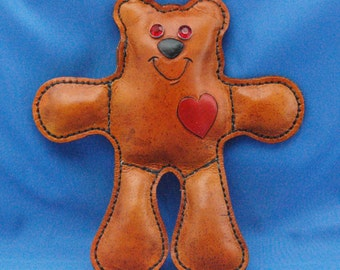 Theodore the Handmade Leather Teddy Bear Stuffed Animal Doll Paperweight Personalized Handsewn Jewel Eyes