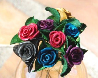 Leather Rose Handmade Handcrafted Long Stemmed Wedding Mother's Day Valentine Bouquet