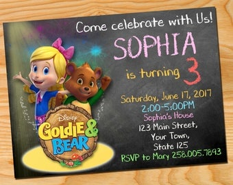Goldie and Bear invitation, Goldie and Bear, Goldie and Bear birthday, Goldie and Bear party