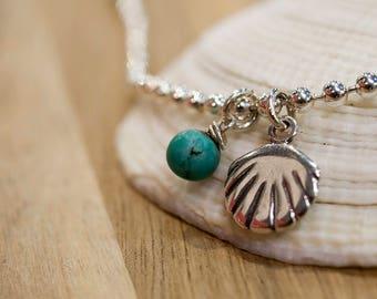 Friendship Bracelet, Silver Charm Bracelet, Stackable Bracelet, Anklet, Shell Bracelet, Boho Bracelet, Chain Bracelet, Silver Anklet