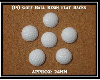 15 Flatback Resins Golf Balls Resin Flatbacks Flat Back Size 24mm Round Golf Balls Flat backs White Balls DIY Craft Project Scrapbooking