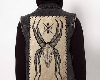 """Eight Horned Ram Skull // Back Patch // 18""""x10"""""""