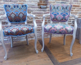Pair of Louis XV style chairs - Liberty fabric