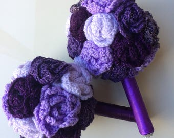 Alternative wedding bouquets hand crocheted using purple flowers. Bride and bridesmaid bouquets