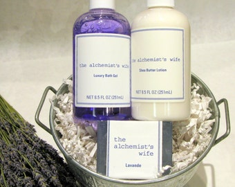 Lavender gift set - french lavender soap body lotion bath gel - skin care - natural soap