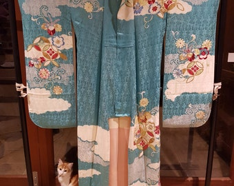 Retro Shoken Silk Furisode Kimono - Sky and Clouds