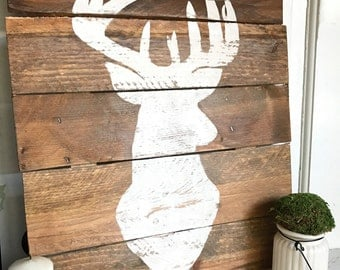 Buck Head Silhouette | Stag Head Silhouette | Deer Sign