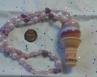 Kawaii ice cream glitter lip gloss carrier necklace